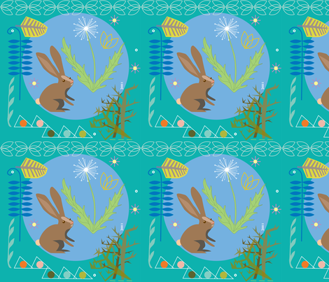 bunny-teal fabric by junej on Spoonflower - custom fabric