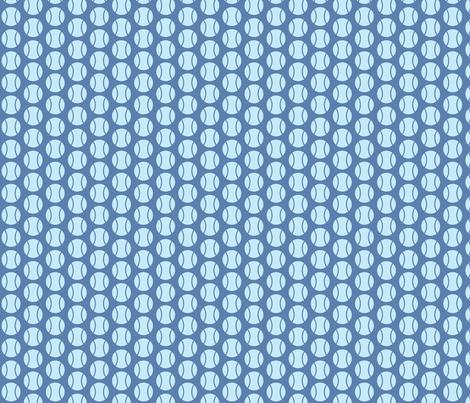 Small Half-Drop Blue Tennis Balls fabric by audreyclayton on Spoonflower - custom fabric