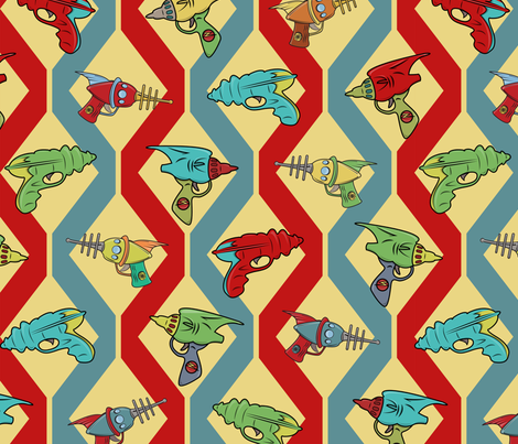 Retro Ray Gun Blue and Red Background fabric by indelibleink on Spoonflower - custom fabric