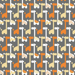 Mod Giraffes in Grey and Orange