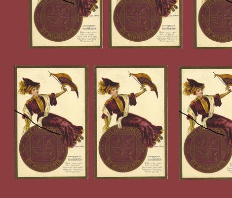 Minnesota University Postcard c1900 fabric by datawolf on Spoonflower - custom fabric