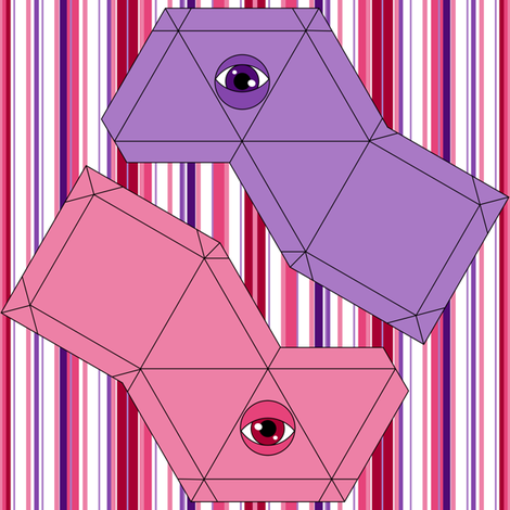 Pyramid Swatch Toy- Pink and Purple fabric by shala on Spoonflower - custom fabric