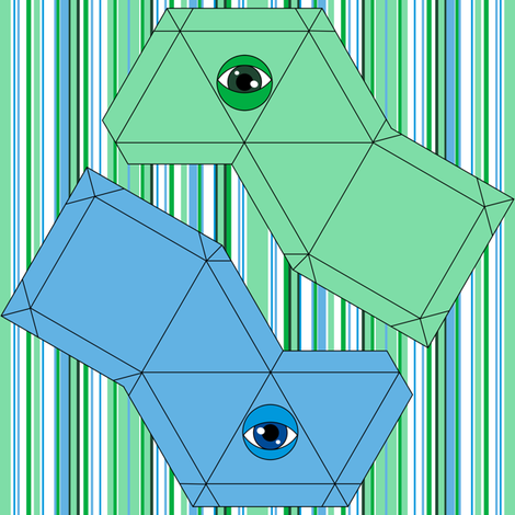 Pyramid Swatch Toy- Green and Blue fabric by shala on Spoonflower - custom fabric