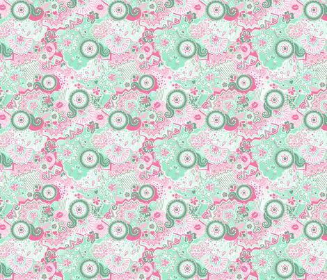 Flamingo Paradise Mint fabric by johanna_lange_designs on Spoonflower - custom fabric