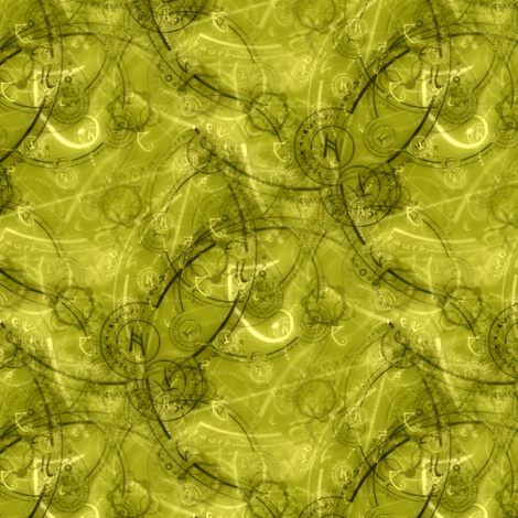Steampunk alchemy jewels (olive jade) fabric by raccoons_rags on Spoonflower - custom fabric