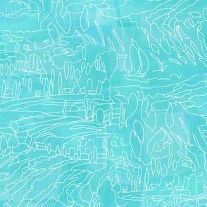 Blue Teal Turquoise Landscape