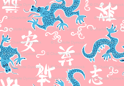 Year of the Dragon on pink