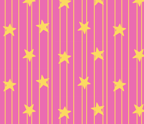 Gold stars and stripes - dark pink fabric by victorialasher on Spoonflower - custom fabric