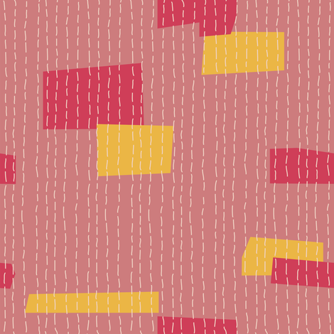 Kantha Patch Dusty Pink fabric by bee&lotus on Spoonflower - custom fabric