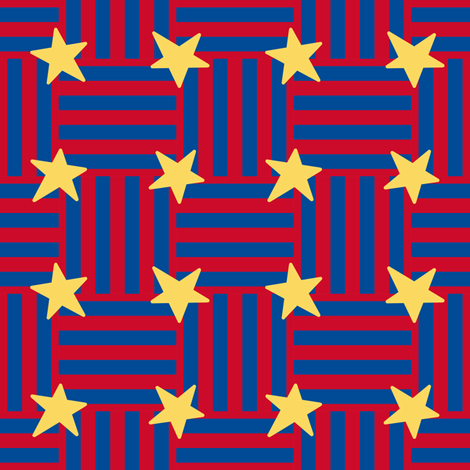 Patriotic ribbons and large stars fabric by victorialasher on Spoonflower - custom fabric