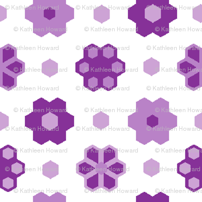 Hexagon Flower -purples_white 2_inch__4