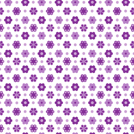 Hexagon Flower -purples_white 2_inch__4 fabric by khowardquilts on Spoonflower - custom fabric