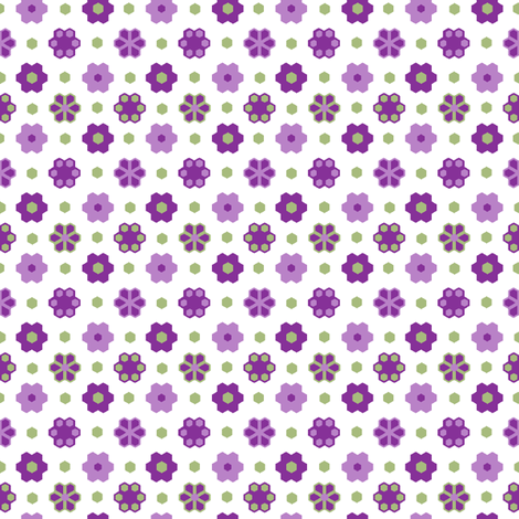 Hex Flowers 2_inch_purples green_white_hex_4-ch fabric by khowardquilts on Spoonflower - custom fabric