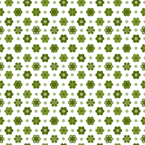 Hex flowers 2_inch_greens_white_hex_4-ch-ch fabric by khowardquilts on Spoonflower - custom fabric