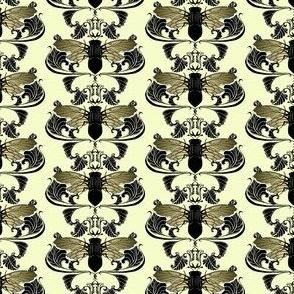 Cream Cicada Damask