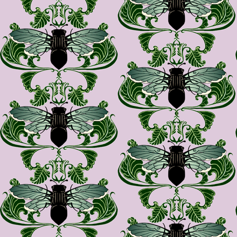 Greenwing Cicada Damask fabric by redsixwing on Spoonflower - custom fabric