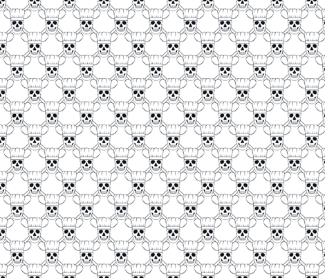 Chef Skull Design in White fabric by shala on Spoonflower - custom fabric