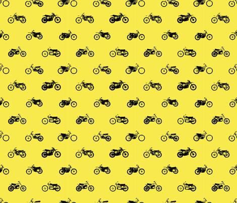 Classic motorcross bikes in yamaha yellow fabric by smuk on Spoonflower - custom fabric
