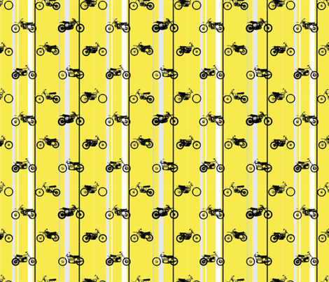 Classic motorcross yamaha yellow racing stripes fabric by pennyroyal on Spoonflower - custom fabric