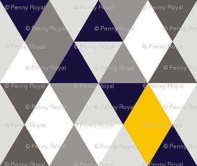 Geo Mod Navy Yellow Grey
