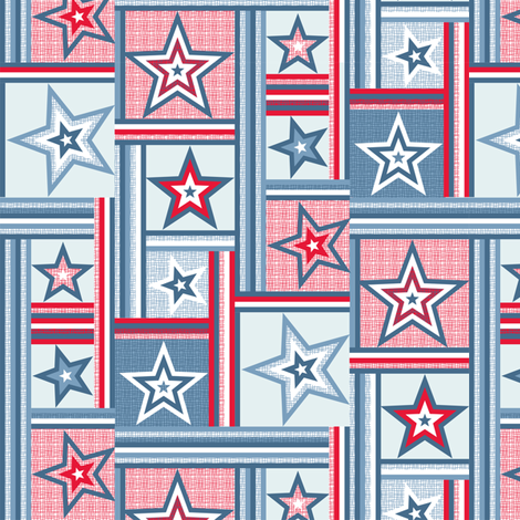 patchwork stars and stripes red fabric by cjldesigns on Spoonflower - custom fabric