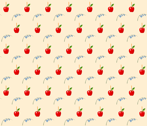Toffee Apple and Bluebells Cream fabric by de-ann_black on Spoonflower - custom fabric