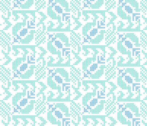 stitched pomegranates - blue green fabric by gingerme on Spoonflower - custom fabric