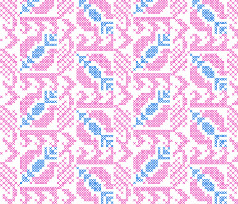 stitched pomegranates - blue pink fabric by gingerme on Spoonflower - custom fabric