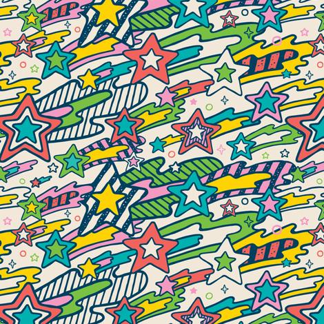 Stripey Stars fabric by r&r on Spoonflower - custom fabric