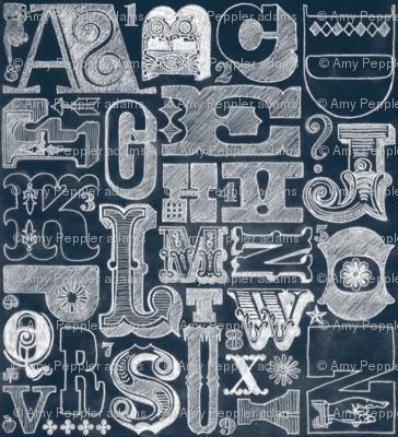 Woodtype Alphabet (Chalk) || chalkboard typography type lettering letters sketch