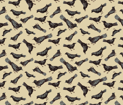 Birds & Branches - birds only on beige fabric by danab78 on Spoonflower - custom fabric