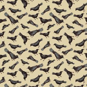 Birds & Branches - birds only on beige
