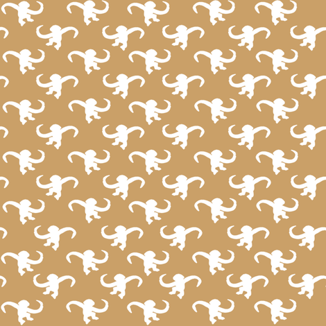 Barrel Monkeys in Beige fabric by stickelberry on Spoonflower - custom fabric