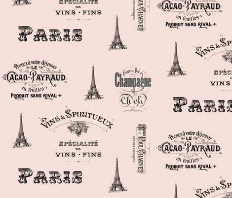 Paris Labels Collage Pink fabric by 13moons_design on Spoonflower - custom fabric