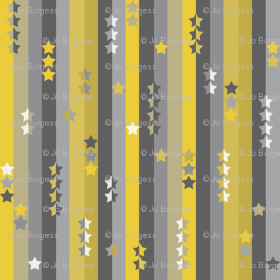 stripes and stars - yellow and grey