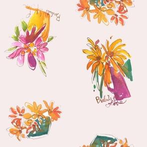 Wildflower Bouquet Watercolor Scarves