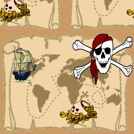 PIRATE TREASURE MAP fabric by bluevelvet on Spoonflower - custom fabric