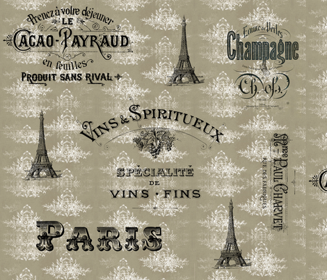 Paris_tan_toile_collage fabric by 13moons_design on Spoonflower - custom fabric