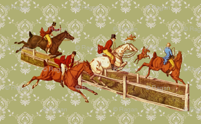 Foxhunters on celadon damask