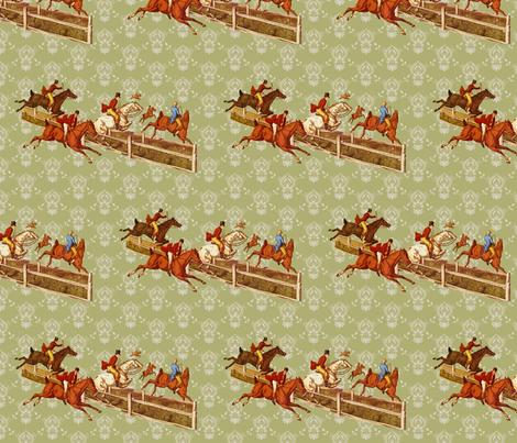 Foxhunters on celadon damask fabric by ragan on Spoonflower - custom fabric