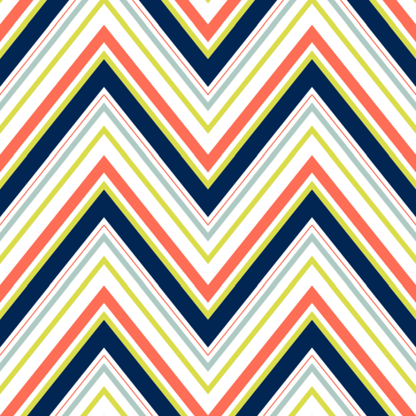 Coral Navy Neon Chevron fabric by mgterry on Spoonflower - custom fabric