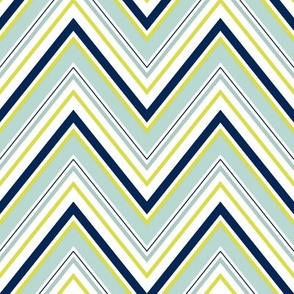 Mint Navy Neon Chevron