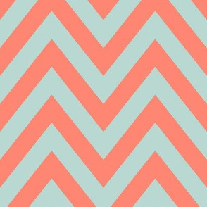 Mint Coral Chevron