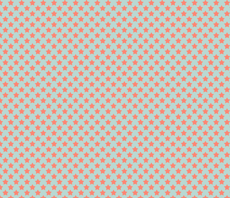 Mint Coral Star fabric by mgterry on Spoonflower - custom fabric