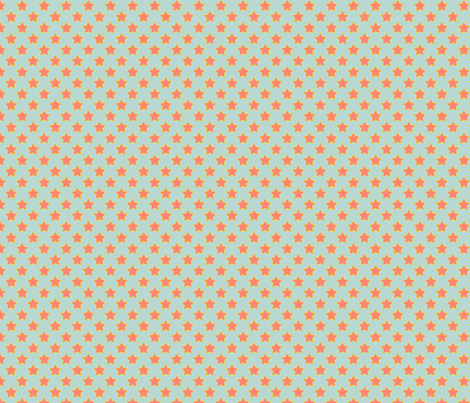 Mint Coral Star 2 fabric by mgterry on Spoonflower - custom fabric