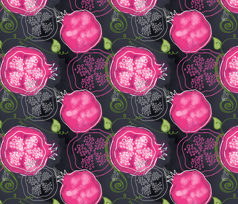 Pink Poms on a Chalkboard fabric by sara_berrenson on Spoonflower - custom fabric