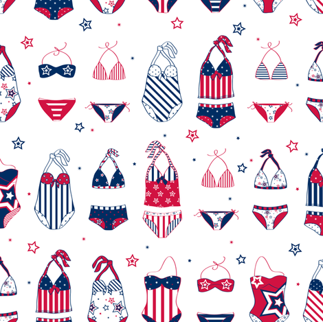 Stars, Stripes & Swimming - © Lucinda Wei fabric by lucindawei on Spoonflower - custom fabric