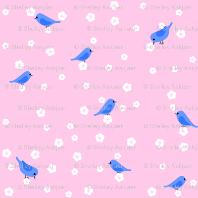 Bluebirds and Blossoms on Pink
