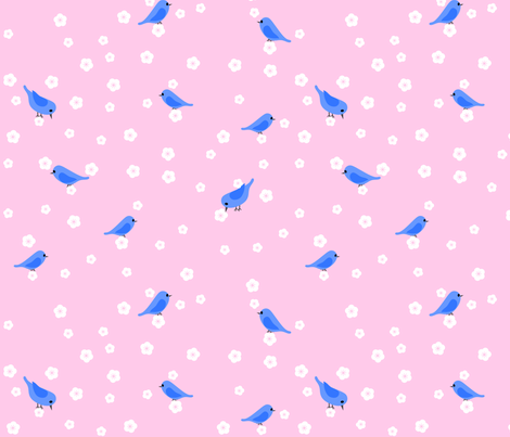 Bluebirds and Blossoms on Pink fabric by shelleymade on Spoonflower - custom fabric