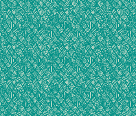 African Diamond in blue & green fabric by angie_mac on Spoonflower - custom fabric